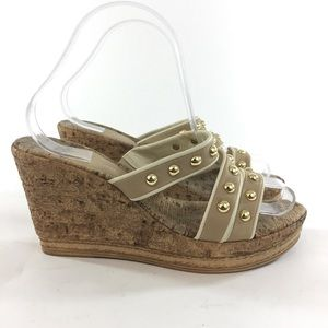 dezario Shoes - Dezario 39/8 Tan Cream Gold Stud Wedge Sandals